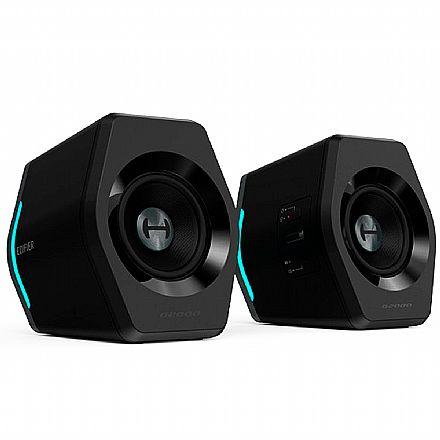 Caixa de Som 2.0 Edifier G2000 - 32W RMS - Bluetooth, USB, Auxiliar, RGB, Equalizador - Preta
