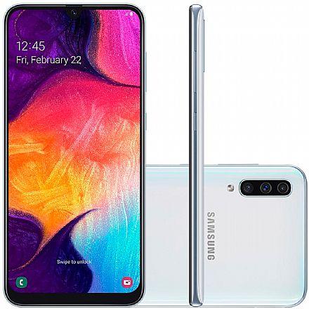 """Smartphone Samsung Galaxy A50 - Tela 6.4"""" Super Amoled, 128GB, Dual Chip, Câmera Tripla 25MP, Leitor de Digital na tela - Branco - SM-A505GT"""