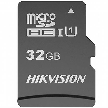 Cartão 32GB MicroSD com Adaptador SD - Classe 10 - Velocidade até 92MB/s - Hikvision HS-TF-C1STD-32G-A