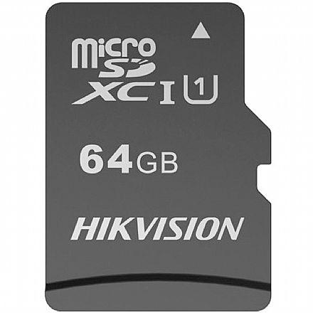 Cartão 64GB MicroSD com Adaptador SD - Classe 10 - Velocidade até 92MB/s - Hikvision HS-TF-C1STD-64G-A