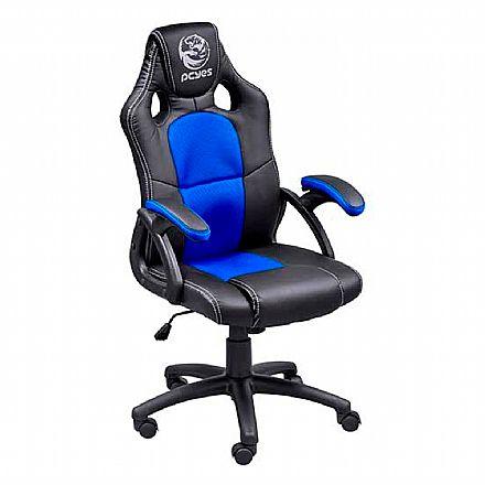 Cadeira Gamer PCYes MAD Racer V6 - Mecanismo de Inclinação - MADV6AZ - Preto e Azul