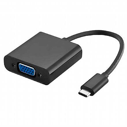 Adaptador Conversor USB-C para VGA 1080P - USB Tipo C - Multilaser WI372