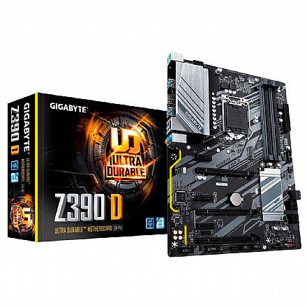 Gigabyte Z390 D (LGA 1151 - DDR4 4266 O.C) - Chipset Intel Z390 - 8ª e 9ª Geração - Slot M.2 - ATX