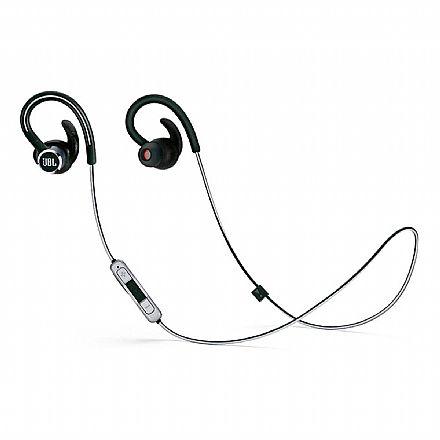 Fone de Ouvido Esportivo Bluetooth Intra-Auricular JBL Reflect Contour 2 - com Microfone - Resistente a Suor - Preto - JBLREFCONT2BLKBR