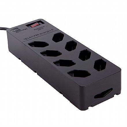 Filtro de linha + DPS 8 tomadas iClamper Energia 8 - Proteção contra Surto Elétrico - 13000 Preto