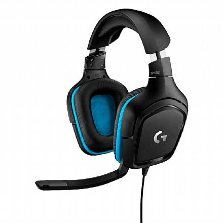 Headset Gamer Logitech G432 Wired 7.1 Surround - Drivers 50mm - Conectores USB e 3.5mm - Preto/Azul