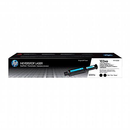 Kit Recarga para HP Neverstop com 2 Unidades - Toner HP 103A Preto - W1103AD - Para HP Neverstop 1000A / 1000W / 1200A / 1200W