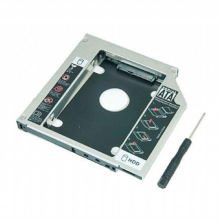 Adaptador Caddy - Converte baia de gravador de notebook SATA para HD / SSD de 2.5 - 9,5mm