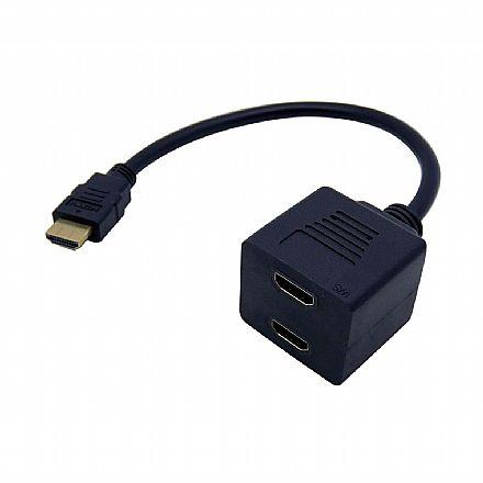 Cabo Adaptador Duplicador - HDMI Macho para 2 saídas Fêmea