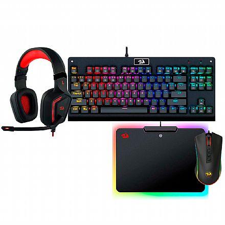 Kit Gamer Redragon - Teclado Mecânico Dark Avenger RGB + Mouse Cobra Chroma + Headset Muses 7.1 + Mousepad Epeius RGB