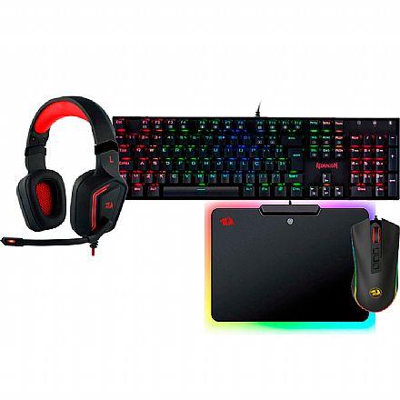 Kit Gamer Redragon - Teclado Mecânico Mitra RGB + Mouse Cobra Chroma + Headset Muses 7.1 + Mousepad Epeius RGB