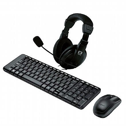 Kit Home Office Logitech sem Fio – Teclado e Mouse sem Fio MK220 + Headset C3 Tech Voicer Comfort