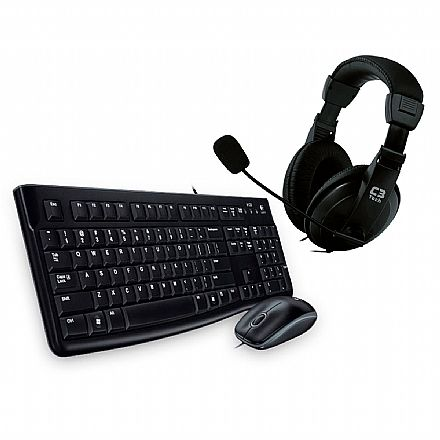 Kit Home Office Logitech – Teclado e Mouse MK120 + Headset C3 Tech Voicer Comfort