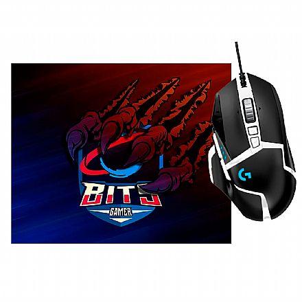Kit Gamer Logitech - Mouse G502 Hero SE + Mousepad Bits Raptor Grande
