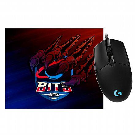Kit Gamer Logitech - Mouse G203 Prodigy + Mousepad Bits Raptor Grande