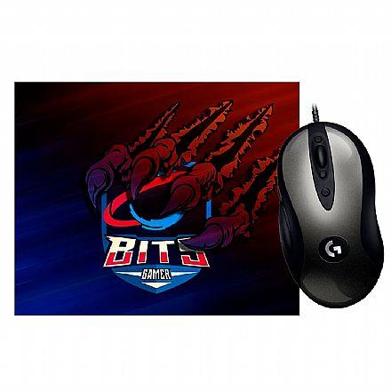 Kit Gamer Logitech - Mouse MX518 Legendary HERO 16K + Mouse Pad Bits Raptor Grande