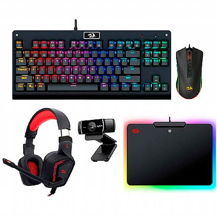 Kit Gamer Redragon - Teclado Mecânico Dark Avenger RGB + Mouse Cobra Chroma + Headset Muses 7.1 + Mouse Pad Epeius RGB + Webcam Logitech C922 Pro