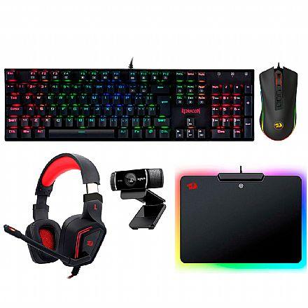 Kit Gamer Redragon - Teclado Mecânico Mitra RGB + Mouse Cobra Chroma + Headset Muses 7.1 + Mouse Pad Epeius RGB + Webcam Logitech C922 Pro
