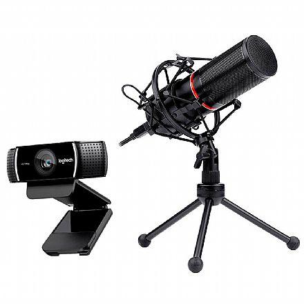 Kit Streamer – Webcam Logitech C922 + Microfone Condensador Redragon Blazar