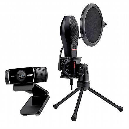 Kit Streamer – Webcam Logitech C922 + Microfone Condensador Redragon Quasar