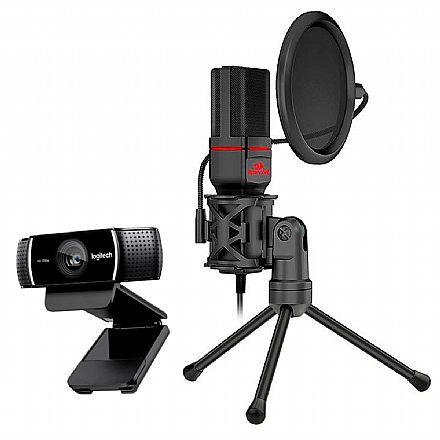 Kit Streamer – Webcam Logitech C922 + Microfone Condensador Redragon Seyfert