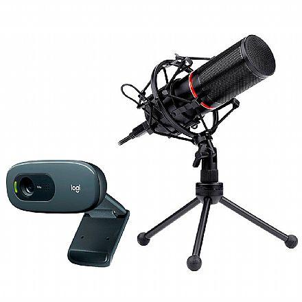 Kit Streamer – Webcam Logitech C270 + Microfone Condensador Redragon Blazar