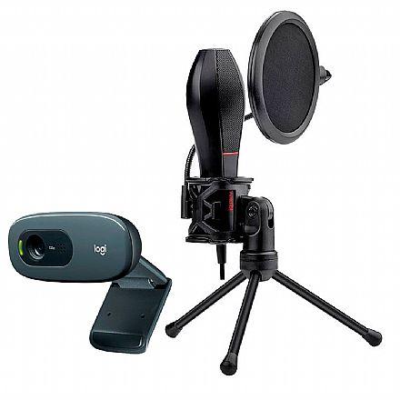 Kit Streamer – Webcam Logitech C270 + Microfone Condensador Redragon Quasar