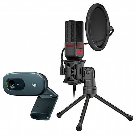 Kit Streamer – Webcam Logitech C270 + Microfone Condensador Redragon Seyfert
