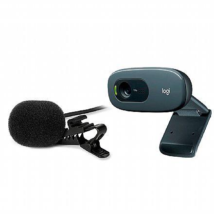 Kit Streamer – Webcam Logitech C270 + Microfone de Lapela Sharkoon SM1