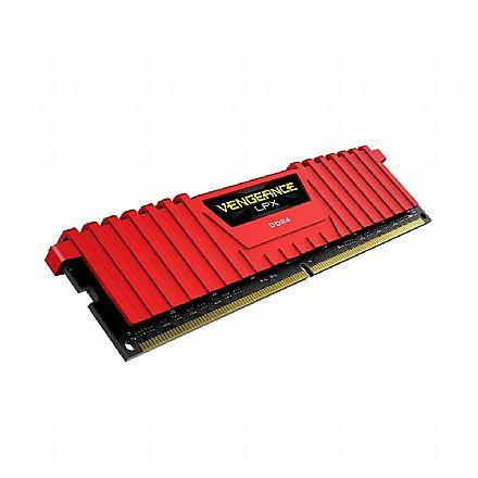Memória 8GB DDR4 2666MHz Corsair LPX - Latência CL15 - Vermelho - CMK8GX4M1A2666C16R