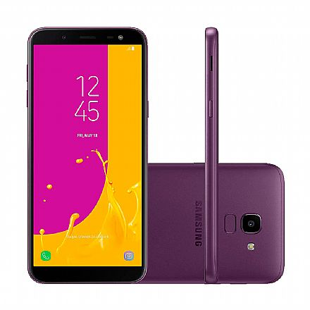 "Smartphone Samsung Galaxy J6 - Tela 5.6"" Super AMOLED, 32GB, Dual Chip 4G, 13MP, TV Digital - Violeta - SM-J600GT - Open Box"