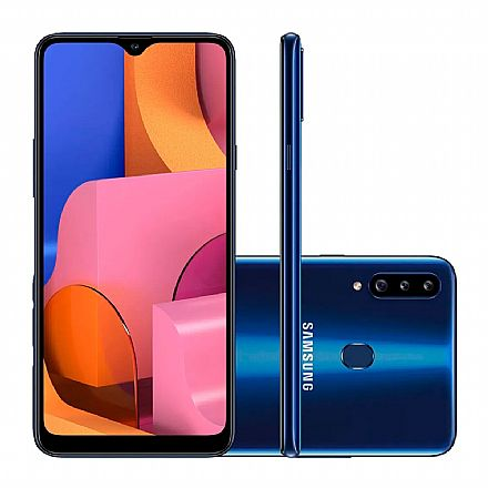 "Smartphone Samsung Galaxy A20s - Tela 6.5"" HD+, 32GB, Dual Chip 4G, Câmera Tripla 13MP - Azul - A207M/32DS - Open Box"