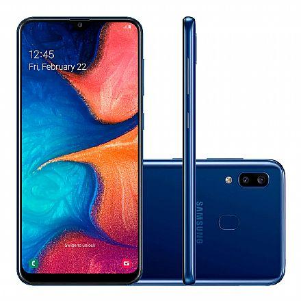 "Smartphone Samsung Galaxy A20 - Tela 6.4"" Super AMOLED Infinita, 32GB, Dual Chip 4G, Câmera Dupla 13MP - Azul - SM-A205G - Open Box"