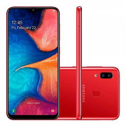 """Smartphone Samsung Galaxy A20 - Tela 6.4"""" Super AMOLED Infinita, 32GB, Dual Chip 4G, Câmera Dupla 13MP - Vermelho - SM-A205G - Open Box"""