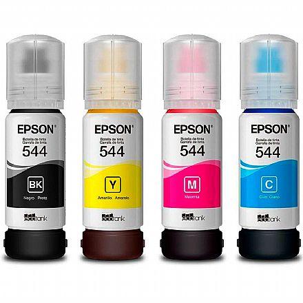 Pack de Refil de Tinta Epson T544 - Preto, Vermelho, Amarelo, Azul - Para Multifuncionais Tanque de Tinta Epson L1110 / L3110 / L3150