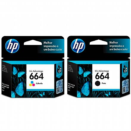 Pack de Cartuchos HP 664 - F6V28AB / F6V29AB - Preto + Colorido - para Deskjet Ink Advantage 1115 / 2136 / 4536 / 3636 / 3836 / 3635 / 3776 / 3788 / 3790 / 2676 / 4676