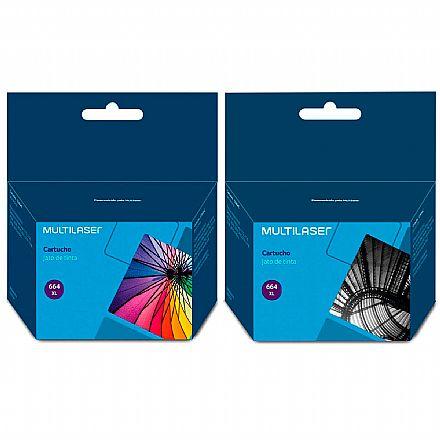 Pack de Cartuchos Compatíveis Multilaser HP 664XL - Preto + Colorido - para Deskjet Ink Advantage 1115 / 2136 / 4536 / 3636 / 3836 / 3635 / 3776 / 3788 / 3790 / 2676 / 4676