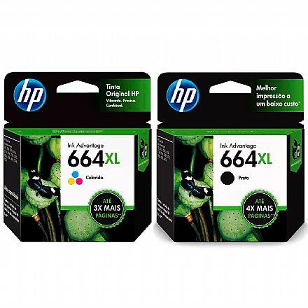 Pack de Cartuchos HP 664XL - F6V30AB / F6V31AB - Preto + Colorido - para Deskjet Ink Advantage 1115 / 2136 / 4536 / 3636 / 3836 / 3635 / 3776 / 3788 / 3790 / 2676 / 4676