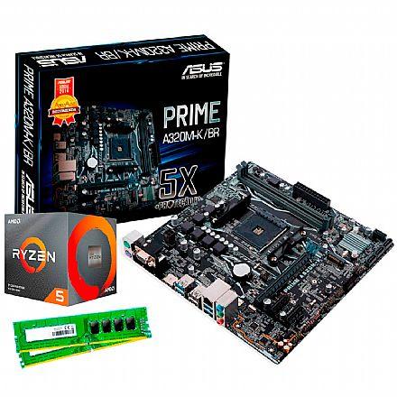 Kit Upgrade AMD Ryzen™ 5 3600X + Asus Prime A320M-K/BR + Memória 8GB DDR4