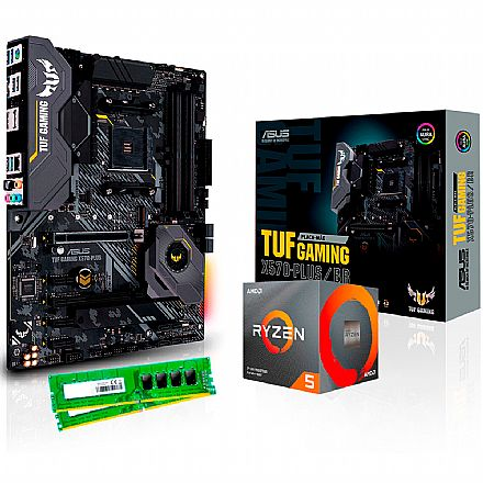 Kit Upgrade AMD Ryzen™ 5 3600X + Asus TUF X570-PLUS/BR GAMING + Memória 8GB DDR4