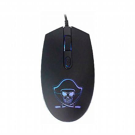 Mouse Gamer K-Mex Pirata M3400 - 1200dpi - com LED RGB