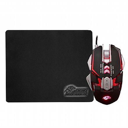 Kit Mouse e Mouse Pad K-Mex MO-D837 - 3200dpi - 7 Botões - LED RGB