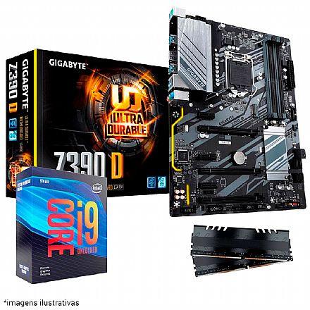 Kit Upgrade Intel® Core™ i9 9900KF + Gigabyte Z390 D + Memória 16GB DDR4