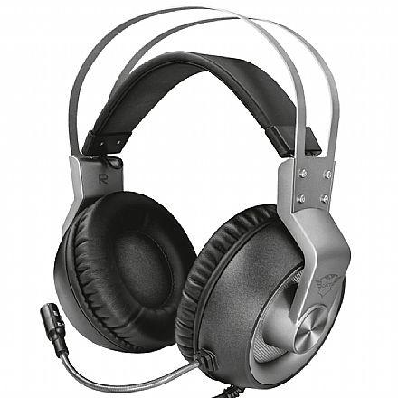 Headset Gamer Trust GXT 430 Ironn - com Controle de Volume - Conector P3 3.5mm + Adaptador P2 3.5mm - Compatível com PC / PS5 / PS4 / Xbox Series X / Xbox One / Switch / Mobile - 23209
