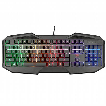 Teclado USB Gamer Trust GXT 830-RW Avonn - LED Rainbow - Anti-Ghosting - USB - 21621