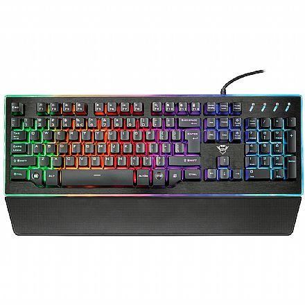 Teclado USB Gamer Trust GXT 860 Thura Semi-mecânico - LED Rainbow - Anti-Ghosting - USB - 21839
