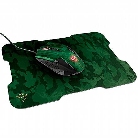 Kit Mouse e Mousepad Trust GXT 781 Rixa Camo - 3200dpi - 6 Botões - Ambidestro - 23611