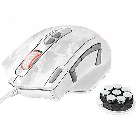 Mouse Gamer Trust GXT 155W Caldor Branco Camo - LED RGB - 4000dpi - 11 Botões - Ajuste de Peso - 20852