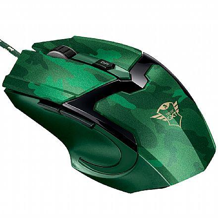 Mouse Gamer Trust GXT 101D Gav Jungle Camo - 4800dpi - 6 Botões - 22793