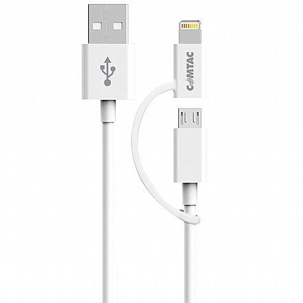 Cabo Lightning e Micro USB para USB - 2 em 1 - Micro USB e Lightning para iPhone - Branco - Comtac 21139320